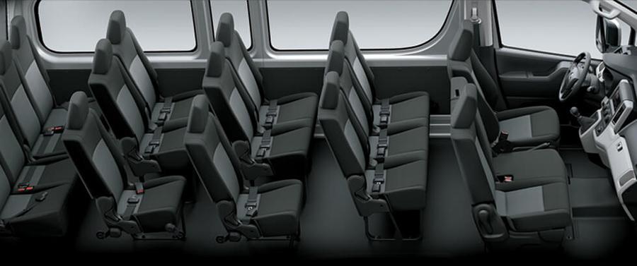 Trải nghiệm không gian nội thất rộng rãi và tiện nghi , với 15 chỗ ngồi được sắp xếp thành 5 hàng ghế hợp lý tạo nên sự thoải mái tối đa trong suốt hành trình.